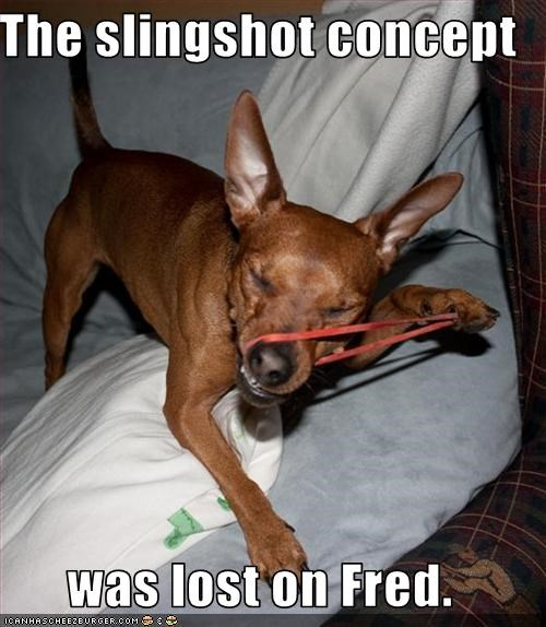 The slingshot concept  was lost on Fred.