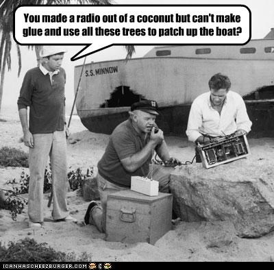 alan-hale-jr,bob denver,classic tv,coconut,gilligans-island,rescue,russell johnson,TV