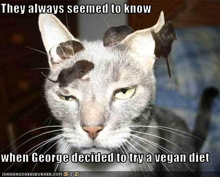 They always seemed to know  when George decided to try a vegan diet