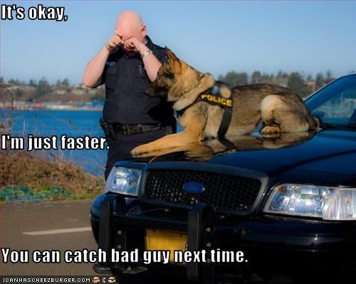 It's okay, I'm just faster. You can catch bad guy next time.