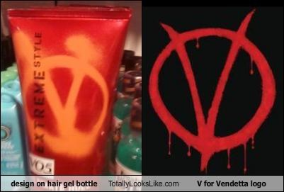 design on hair gel bottle Totally Looks Like V for Vendetta logo