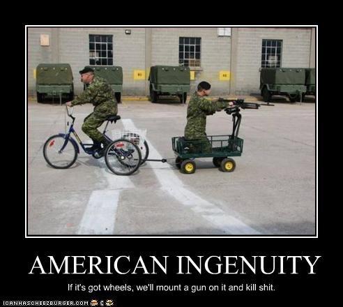 americans,bicycle,guns,military