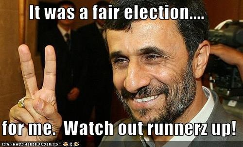 It was a fair election....    for me.  Watch out runnerz up!