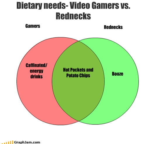 booze,caffeine,dietary,energy drinks,gamers,hot pockets,needs,nutrition,potato chips,rednecks