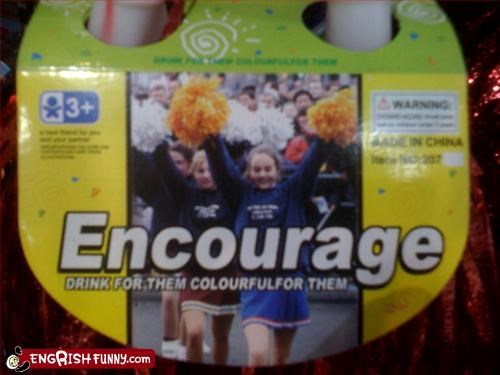 cheerleaders,colorful,drink,encourage,g rated,packaging