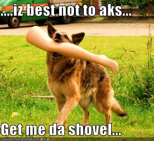 ....iz best not to aks...  Get me da shovel...