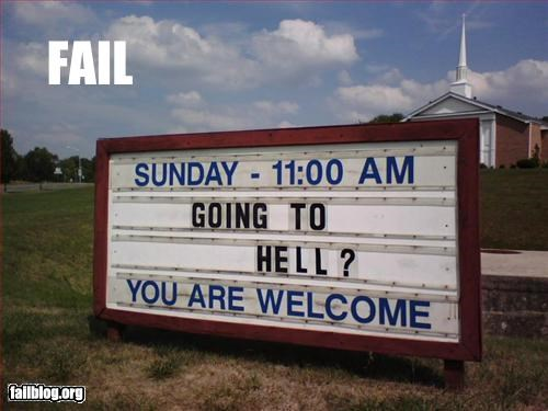 Church Sign,failboat,hell,marquee,message,signs