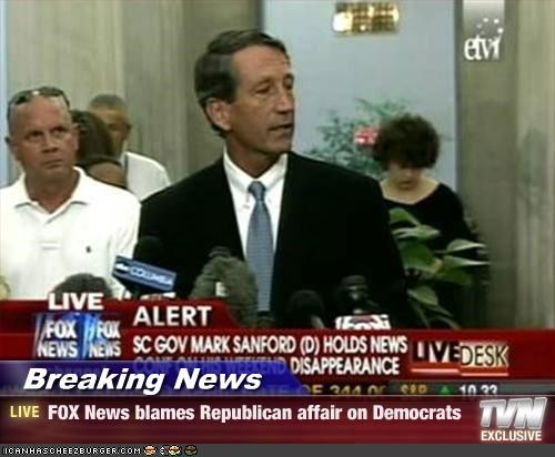Breaking News - FOX News blames Republican affair on Democrats