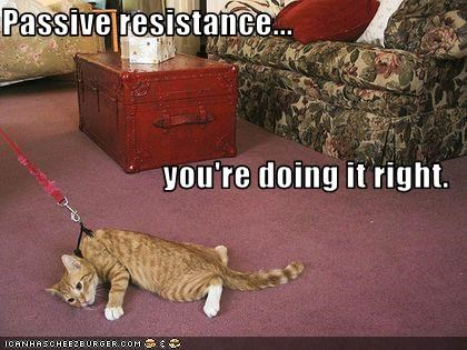 Passive resistance... you're doing it right.