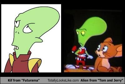 "Kif from ""Futurama"" Totally Looks Like Alien from ""Tom and Jerry"""