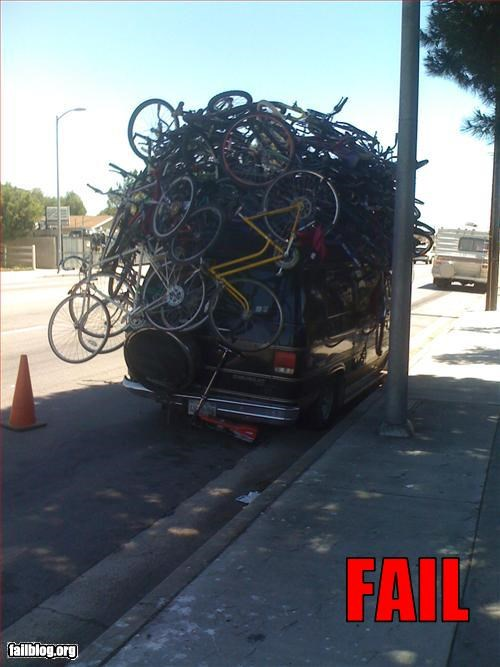 bikes,cars,failboat,g rated,roof rack,too many,transportation