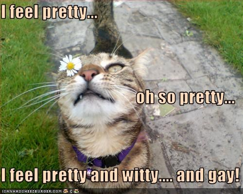 I feel pretty...  oh so pretty... I feel pretty and witty.... and gay!