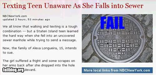 Texting Teen Unaware As She Falls into Sewer