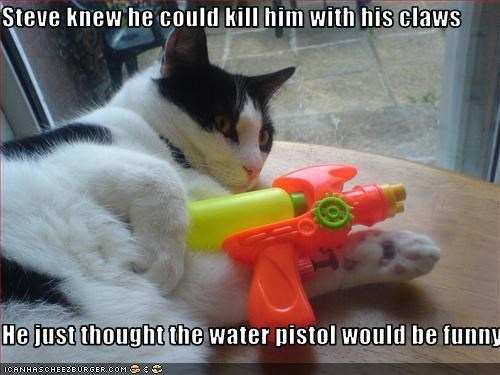 Steve knew he could kill him with his claws  He just thought the water pistol would be funny