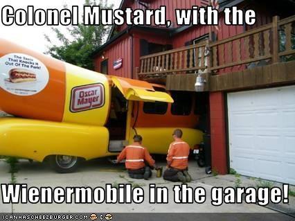clue,colonel mustard,crash,oscar meyer wienermobile