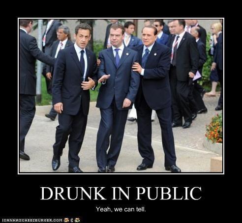 Dmitry Medvedev,drunk,Nicolas Sarkozy,president,prime minister,silvio berlusconi