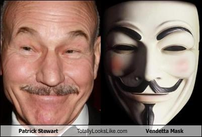 Patrick Stewart Totally Looks Like Vendetta Mask