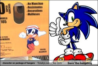 character on package of hangers Totally Looks Like Sonic the hedgehog