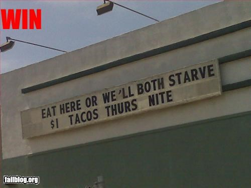 Eat Here, or We'll Both Starve