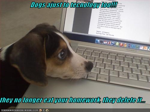 Dogs ajust to tecnology too!!!  they no longer eat your homework, they delete it...