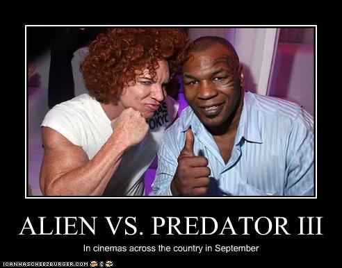 alien vs predator,boxers,carrot top,comedian,mike tyson