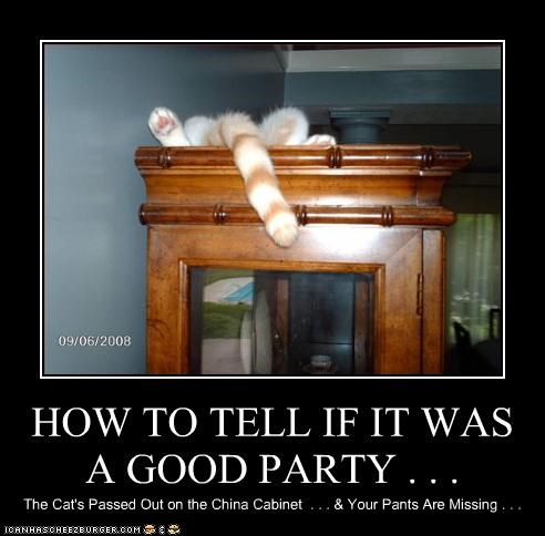 HOW TO TELL IF IT WAS A GOOD PARTY . . .