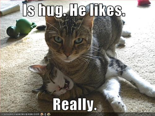 Is hug. He likes.  Really.