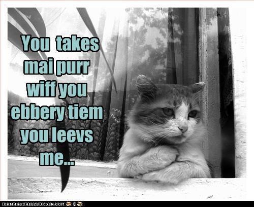 You  takes mai purr wiff you ebbery tiem you leevs me...