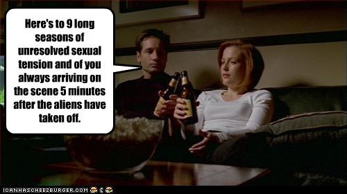 Here's to 9 long seasons of unresolved sexual tension and of you always arriving on the scene 5 minutes after the aliens have taken off.