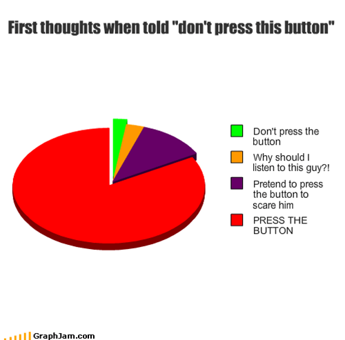 "First thoughts when told ""don't press this button"""