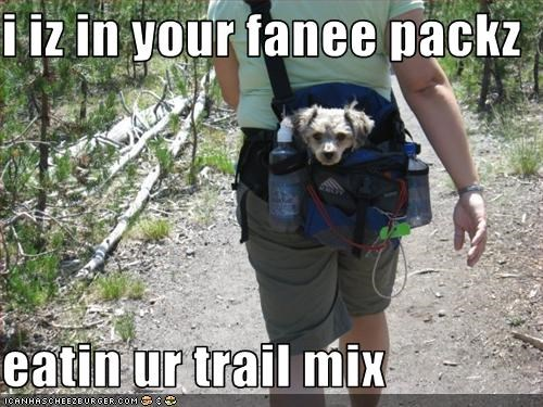 i iz in your fanee packz  eatin ur trail mix