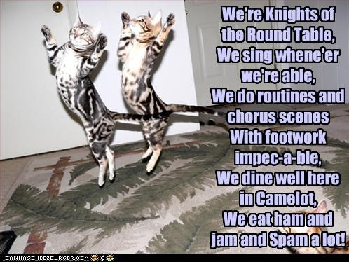 We're Knights of the Round Table, We sing whene'er we're able, We do routines and chorus scenes With footwork impec-a-ble,  We dine well here in Camelot, We eat ham and jam and Spam a lot!