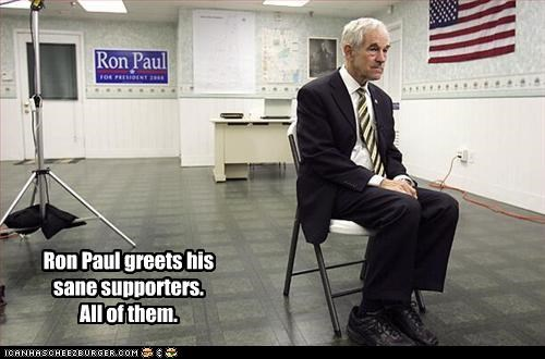 Ron Paul greets his sane supporters.  All of them.