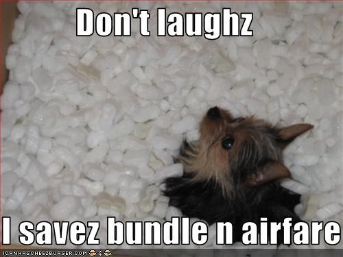 Don't laughz  I savez bundle n airfare