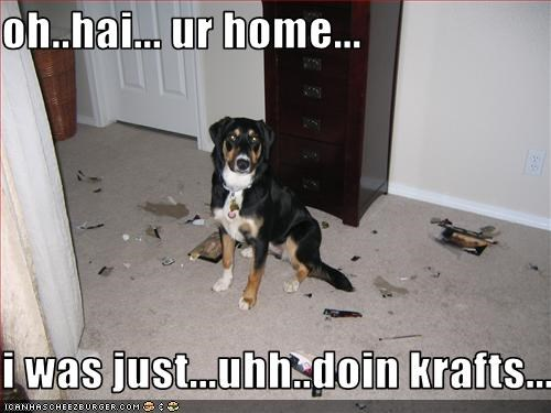 oh..hai... ur home...  i was just...uhh..doin krafts...