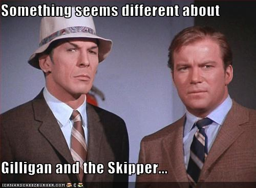 Captain Kirk,gilligans-island,Leonard Nimoy,sci fi,Spock,Star Trek,the skipper,William Shatner