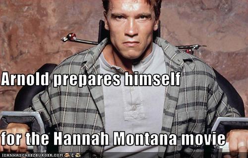 Arnold prepares himself for the Hannah Montana movie