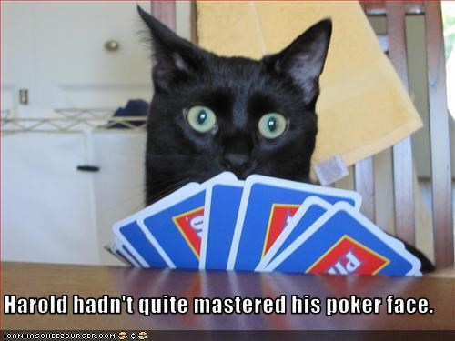 Harold hadn't quite mastered his poker face.