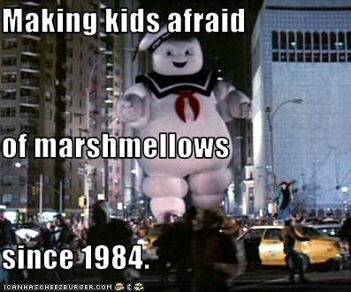 80s-movies,Ghostbusters,kids,scary,stay puft marshmallow man