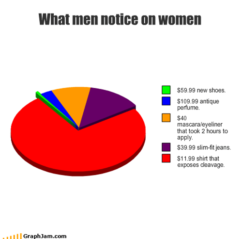 cleavage,cosmetics,eyeliner,jeans,makeup,mascara,men,new,notice,perfume,Pie Chart,shirt,shoes,women
