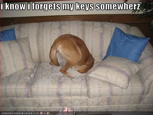 i know i forgets my keys somewherz