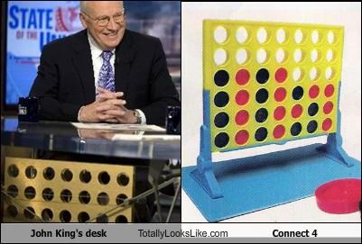 John King's desk Totally Looks Like Connect 4