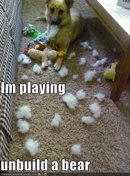 destroy,destruction,german shepherd,lolbears,stuffed toy,teddy bear