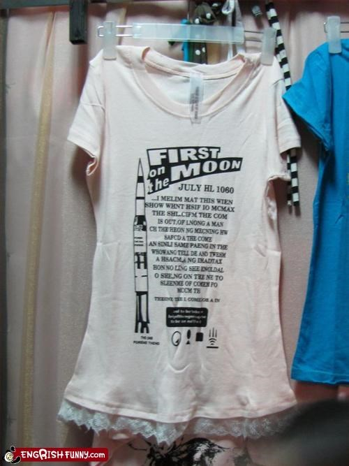 clothing,first,g rated,man,moon,T.Shirt