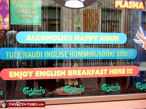 alcohol,breakfast,g rated,happy hour,restaurant,signs