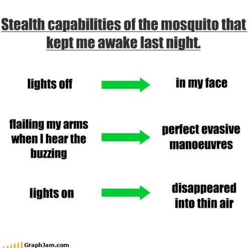 Stealth capabilities of the mosquito that kept me awake last night.