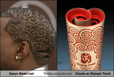 hair cut,hair style,kanye west,olympic torch,the olympics