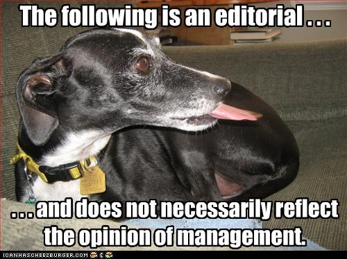 The following is an editorial . . .