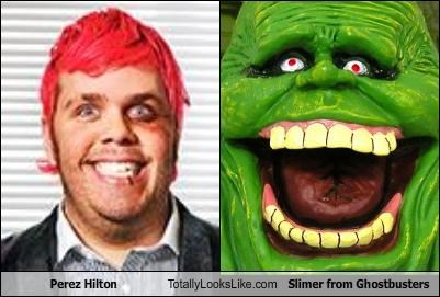 Perez Hilton Totally Looks Like Slimer from Ghostbusters