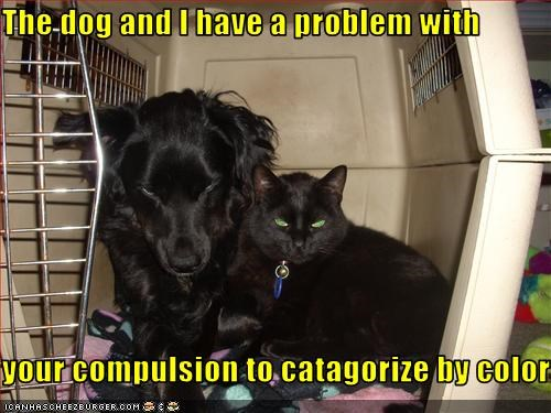 The dog and I have a problem with  your compulsion to catagorize by color